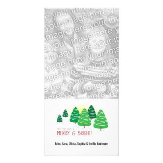 Merry & Bright Trees & White Beads Christmas Card