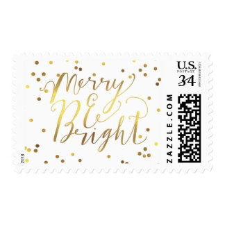 Merry & Bright Typography Gold Confetti White Postage