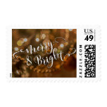 Merry & Bright Typography Over Warm Bokeh Photo Postage