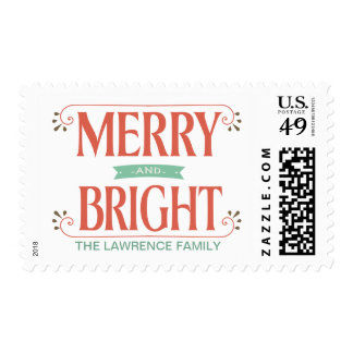 Merry & Bright Vintage Country Floral Holiday Stamp