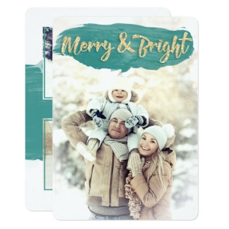 Merry & Bright Watercolor Paint Holiday Flat Card