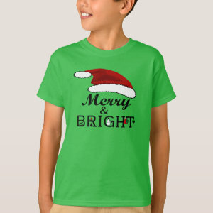 Merry & Bright with Santa Hat Christmas Kids, ZSPG T-Shirt