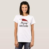 Merry & Bright with Santa Hat Xmas Women, ZSPG T-Shirt