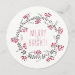 "Merry & Bright Wreath Holiday Card<br><div class=""desc"">♡  Background color is editable.