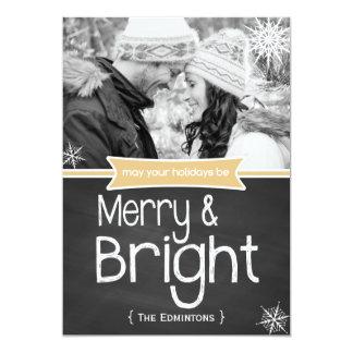 Merry Bright Yellow Chalkboard Holiday Flat Card