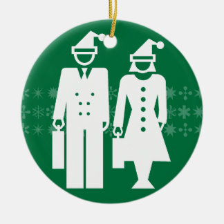 Merry Business green ornament