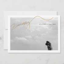 Merry Calligraphy Script Gold Name Photo Christmas Holiday Card