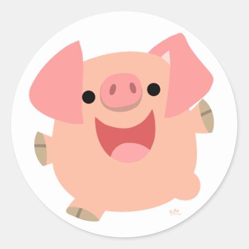 Merry Cartoon Pig round sticker