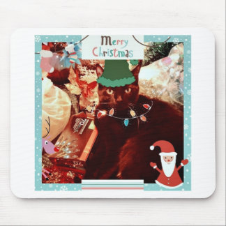 Merry Cat Elf Christmas goodies Mouse Pad