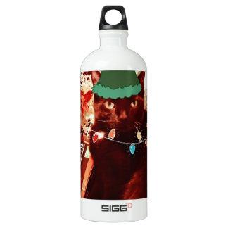 Merry Cat Elf Christmas goodies Water Bottle