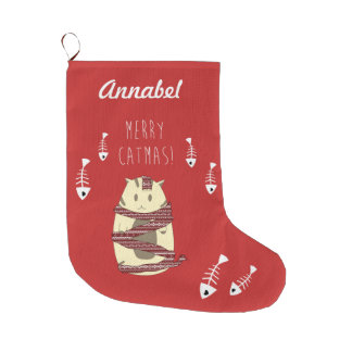 Merry Catmas! Custom Christmas Cat Red Stocking Large Christmas Stocking
