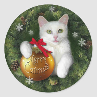 Merry Catmas gift tag Classic Round Sticker