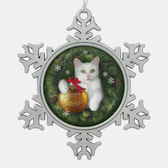 Merry Catmas Snowflake Pewter Christmas Ornament