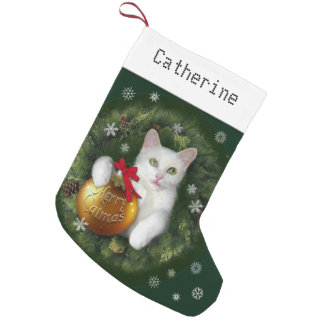 Merry Catmas with (or without) your Name Small Christmas Stocking