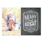 Merry Chalk Vintage Chalkboard Holiday Photo Card Custom Invites