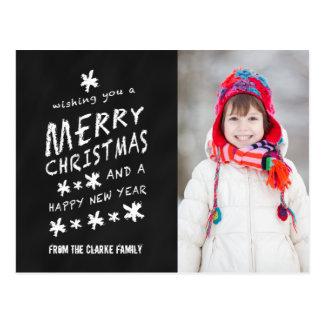 MERRY CHALKBOARD CHRISTMAS HOLIDAY PHOTO POSTCARD