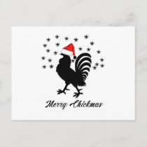 Merry Chickmas Funny Christmas Chicken Holiday Postcard