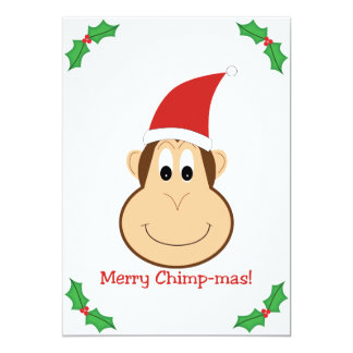Merry Chimpmas! Christmas gifts 5x7 Paper Invitation Card