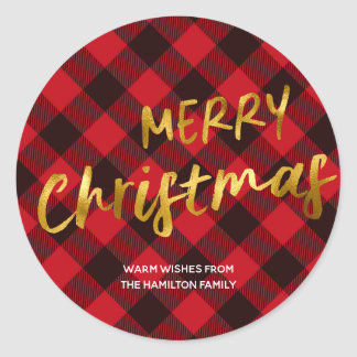 Merry Chirstmas Buffalo Plaid and Gold Foil Script Classic Round Sticker