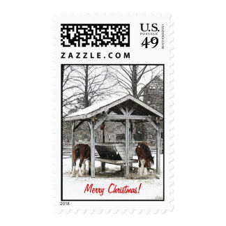 Merry Chistmas horses stamp