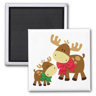 Merry Chris Moose 2 Inch Square Magnet