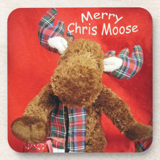 Merry Chris Moose Drink Coaster