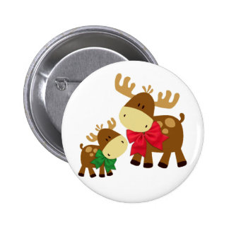 Merry Chris Moose Pinback Button