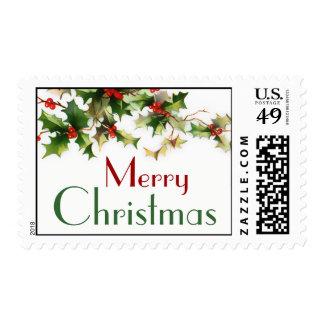 Merry Chrismas Holly Postage