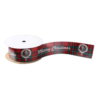 Merry Chrismas MacGregor Tartan 2 yd Clan Badge Blank Ribbon