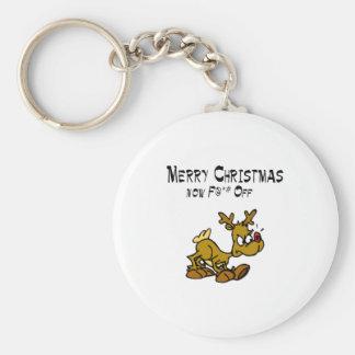 Merry Chrismas Now F*ck Off Basic Round Button Keychain