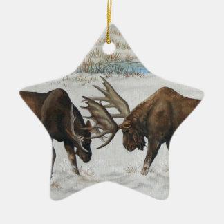 Merry Chrismoose Bull Moose Wildlife Art Ceramic Ornament