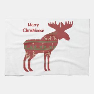Merry ChrisMoose Funny Christmas Moose Animal Art Hand Towels