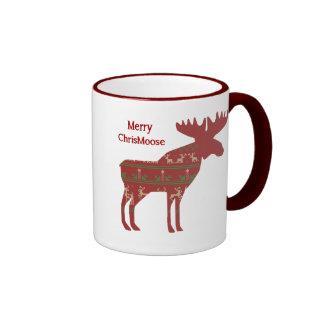 Merry ChrisMoose Funny Christmas Moose Animal Art Ringer Mug