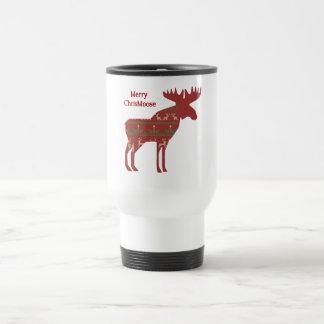 Merry ChrisMoose Funny Christmas Moose Animal Art Travel Mug