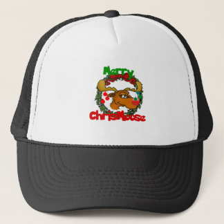 MERRY CHRISMOOSE WITH CHRISTMAS MOOSE TRUCKER HAT