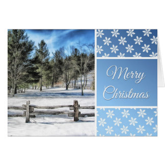Merry Chrismtas Card with Beautiful Winter Scene