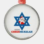 Merry Chrismukkah - Round Metal Christmas Ornament