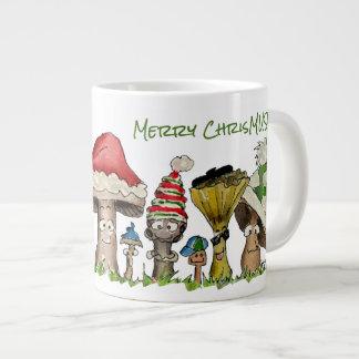 Merry ChrisMUSH Christmas Mushrooms Cartoon Giant Coffee Mug