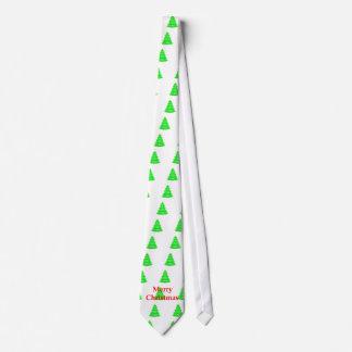 Merry Christ Christmas Tree Yellow Green White OL Tie