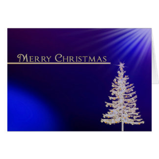 Merry Christma -Business -Christmas Gold/Blue/Tree Card