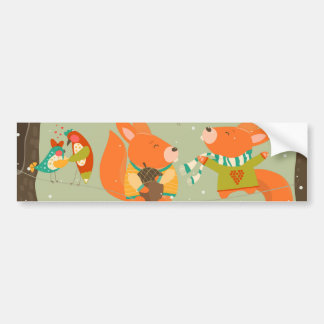 merry christma Illustration card foxes Bumper Sticker