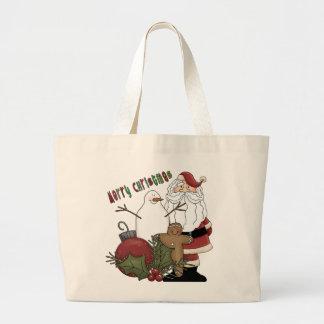 Merry Christma Santa Large Tote Bag