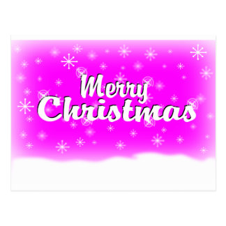 MERRY CHRISTMAS 1 FUCHSIA POSTCARD