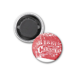 Merry Christmas 1 Inch Round Magnet