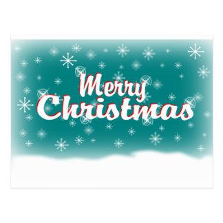 MERRY CHRISTMAS 1 TEAL POSTCARD