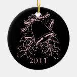 Merry Christmas 2011 Black Pink Ornament Elegant