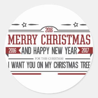 Merry Christmas 2016 Classic Round Sticker