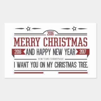 Merry Christmas 2016 Rectangular Sticker