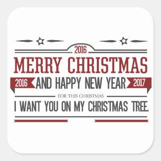 Merry Christmas 2016 Square Sticker