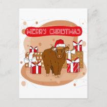 Merry Christmas 2021 and highland cow Postcard
